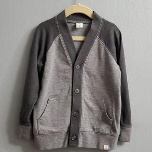Gap Two Toned Boys Grey Cardigan Sweatshirt in 5T